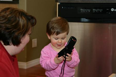 Showing Wanda the phone